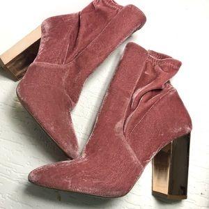 Aldo velvet pink block heel booties 7